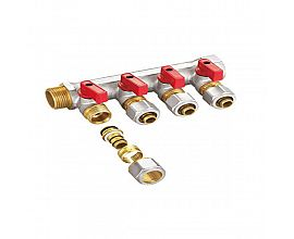 "Nickel plated 3/4"" brass water manifold"