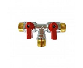 Chrome plated three way ball valve