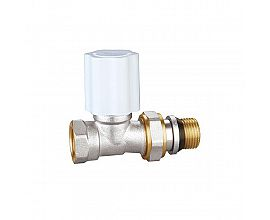 Brass straight radiator valve with union