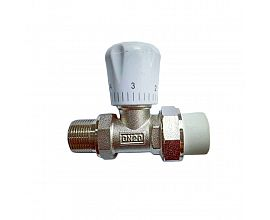 Brass angle radiator valve with PPR