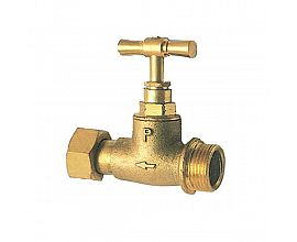Brass stop valve with union