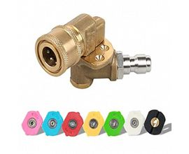 Power Pressure Washer Spray Nozzle Tips and Quick Connect Pivot Adapter Coupler 5 Rotation Angles
