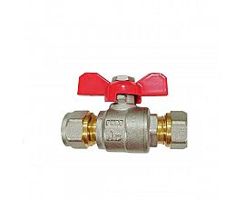 15mm Angled isolating valve compression full bore