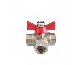 3-Way (L-Port) Forged Brass Ball Valve Butterfly Handle Full Port 400WOG